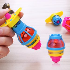 New Designs Children Glitter Spinning Gyro Spiral Spring Toy Colorful Gyro Catapult Belt Launcher L113