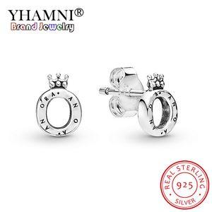YHAMNI 100% 925 Sterlingsilber-Prinzessin Crown O funkelnde Krone Wishbone-Bolzen-Ohrringe Pandora Damen Schmuck-Geschenk-Set