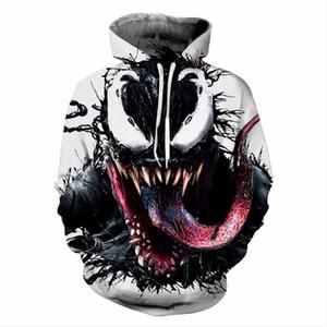 Venom Hoodie Sweatshirts 마블 스파이더 맨 코스프레 Venom Hoodie 남성 여성 성인 프린트 풀오버 탑 캐주얼 Hoody Plus Streetwear