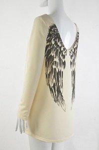 Перья Causual Женщины Тройник с длинным рукавом Angel Wing печать рубашка V шеи Блуза