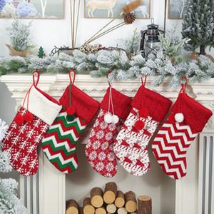 Knit Christmas Stockings decorazione Alberi di Natale ornamento partito Decorazioni Reindeer Snowflake banda caramella Calze Borse regali di natale Bag ZZA1172