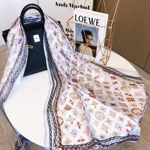 2020 Modische und schöne Frauen vier Jahreszeiten Seidenschal Marke Brief Blumenentwurf Schal Schal Größe 180 * 90cm Schal