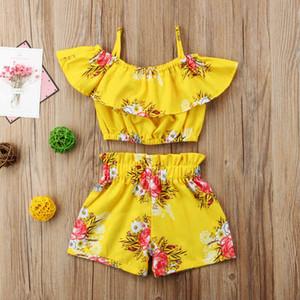 Criança Do Bebê Da Menina Do Miúdo Roupas Florais Meninas Strap Vest Tops + Shorts 2 Pcs Roupas Set 1-6 T Roupas de Verão