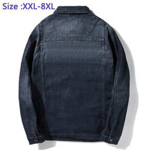 Джинсовая куртка 97% хлопок Jackek для мужской джинсовой Толстые вскользь супер большой пальто Mens Fat Guys Большой плюс размер 2XL -5XL6XL7XL8XL