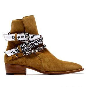 Perfeito Oficial Qualidade Bandana Strap dobraram Tornozelo Botas Rare Limited Edition Kanye West Rock Roll Punk novo luxo Homens Bandana Botas Sapatos