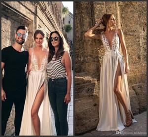 2020 New Berta Illusion Backless Wedding Dresses Front Split Plunging Neckline Appliques Bridal Gown Floor Length A Line Wedding Dress 661