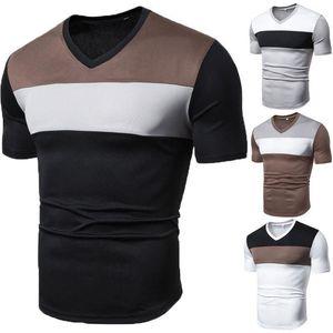 V Neck capuz Tops Casual Designer Male Tees Patchwok Cor Mens T-shirts Casual Manga curta slim