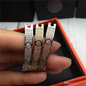 chave de fenda de pulseiras Mulheres Pulseiras cheio de diamantes estrela Bangles Adorável do topo Amor Bracelet Bangle de Homens com saco de veludo originais