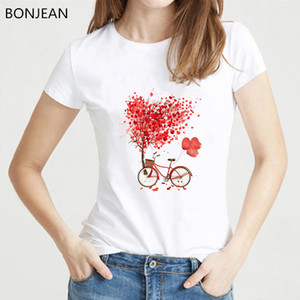 Hot sale red love tshirt women balloons bicycle tree printed white t shirt femme summer top female tumblr clothes streetwea
