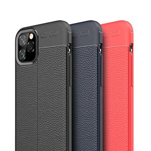 Cas de texture en cuir Litchi Ultra Slim Soft Soft TPU Caoutchouc en caoutchouc de silicone pour iPhone 12 Pro MAX 11 XS XR x 8 7 6 6S Plus SE 2020
