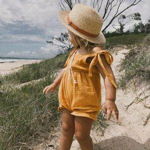 Netter Sommer Neugeborenes Baby-Kleidung Strampler Kleinkind beiläufige Lace Up Jumpsuits-Kind-Kind sunsuit New Style Outfits Set