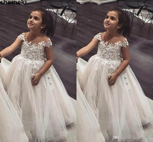 Cute Sheer Jewel Neck Lace Appliques Ball Gown Flower Girls Dresses Tulle Cap Sleeves Long Birthday Child Girl Pageant Gowns