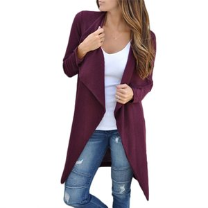 2018 NEW Women ladies long sleeve Solid Cardigan Autumn Wrap Coats fashion solid turn-down collar slim long trench outwear tops