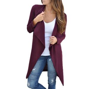 2018 NOUVEAU dames femmes manches longues solide Cardigan automne Wrap mode Coats col rabattu solide tranchée mince à long outwear sommets