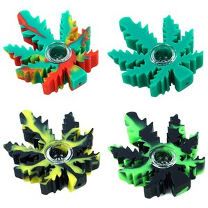 """4"""" Leaf smoking pipe hand pipes Silicone Spoon pipe oil with glass bowl portable hookah unbreakable heat resistant"""
