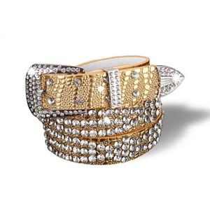 Signore di lusso del progettista Strass cinghie larghe solido in pelle bovina di cinghia per le donne del leopardo di modo di cristallo brillante Jeans Strap Y191218