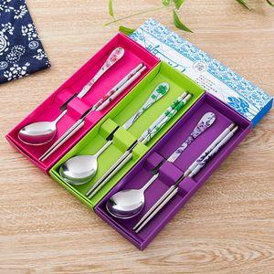 High quality Portable Creative Stainless Steel Chopsticks Spoon Korean Personalized Laser Engraving Patterns Sticks Cartoon Children Gift