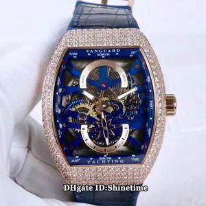 Luxry New Saratoge Vanguard S6 Yachting V45 S6 YACHT Blau Skeleton Dial Miyota Automatik Herren-Uhr-Rose Gold-Diamant-Kasten-Leder-Uhren