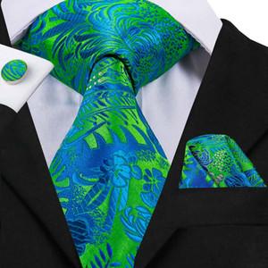 Fast Shipping Floral Tie Green Bule Hanky Cufflinks Sets Men's 100% Silk Ties for men Formal Wedding Party Groom N-3056