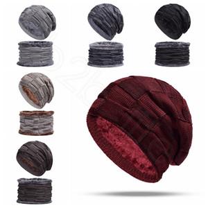 Inverno Malha Chapéus Cachecol Set Homens Designer De Lã Velo Chapéus Cachecol Ao Ar Livre Quente Crochet Cap Marrom Preto HHA516