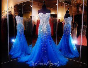 2020 Пром платья Русалка бретелек Вечерние платья Wear Royal Blue Crystal Major Бисероплетение тюль Длинные платья партии Плюс Размер вечерние платья