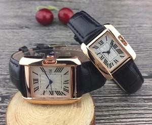 Hot mulheres homens Venda de relógios de Moda de Nova Vestido Mulheres Relógios rectângulo Casual Leather Strap Relógio Feminino Lady Quartz Relógio de pulso