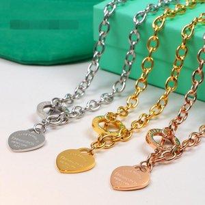 2020 collane di canale in acciaio Nuovo titanio del cuore di amore per le donne che Wedding i monili dal design di lusso collane Normativa gioielli gg