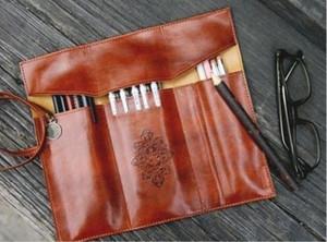 1PC Retro Roll PU Leather Purse Pouch Portable Makeup Pem Pencil Case Pencil Bag Storage Bags School Office Supplies