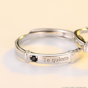 luxury jewelry S925 sterling silver rings couple rings simple Te quiero letters rings for women hot fashion