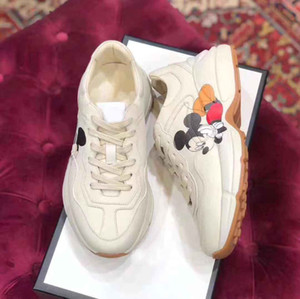concepteur plateforme Homme chaussures de sport en cuir 100% baskets chaussures à lacets Alphabet imprimé Web femmes vintage épais chaussures taille 35-42 semelles us4-11