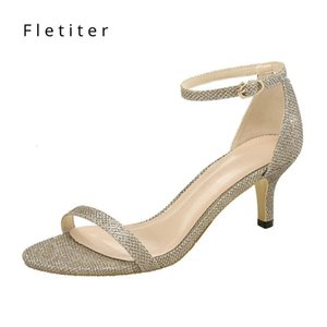 Ankle Summer Shoes Women Strap 5cm Med Womens Thin Heels Chunky Party Dress Black Sandals 2019 Fletiter