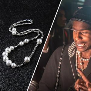 perla ASAP Rocky collana di giunzione sfera in acciaio inossidabile dell'uomo di Hip Hop sezione femminile