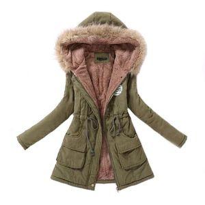 Женская Parka Повседневная Outwear Осень Зима Military с капюшоном пальто Зимняя куртка женщин Шубы женские зимние куртки и пальто