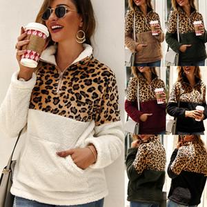 Womens Sherpa Leopard Patchwork Pullover morbidi pile maglioni cappotto con tasche inverno caldo a maniche lunghe Zipper Felpa Plus Size C92708