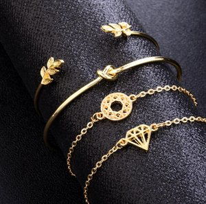 4 adet / takım Exquisite Basit Düğüm Aşk Altın Açılış Bilezik Seti Vintage Yaprak Ok Bileklik Manşet Bilezikler Nedensel Kadınlar Takı Seti 2 Stilleri