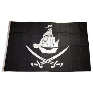 Pirata Cruz indicador de la nave espadas Nueva pirateship Bandera 3x5FT bandera 100D poliéster 150x90cm ojales de bronce hechos, envío libre
