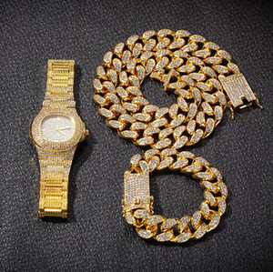 رجل HIP HOP ICED OUT سلسلة + سوار + WATCH SET 3PCS JEWELRY SET RAPPER SINGER ACCESSORIES