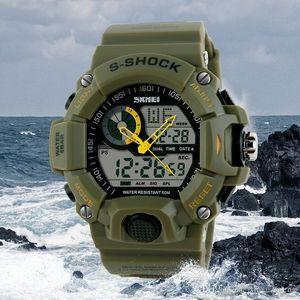 Skmei 1029 Marka Erkek Spor Saatler S-ŞOK Erkekler İzle LED su geçirmez Kuvars Askeri İzle erkek saat relogio masculino