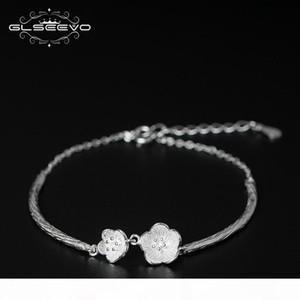مجوهرات GLSEEVO 925 فضة زهر البرقوق أساور أساور للنساء زهرة سوار اليدوية الجميلة Bracelete GB0013