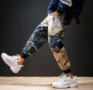Erkek Joggers Pantolon Erkek Yan Cepler Patchwork Parça Pantolon Baskı Kamuflaj Sweatpants Hip Hop Rahat Erkek Tatical Joggers Pamuk Pantolon