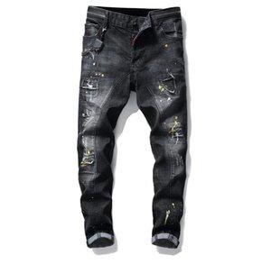 2019 Mens Badge Rips Stretch Black Jeans Fashion Designer Slim Fit Washed Motocycle Denim Pants Panelled Hip HOP Trousers 10200 WB