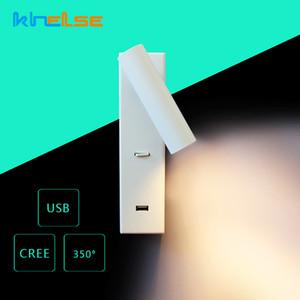 Angle USB Chargeur Rotatif LED mur Lampe DC5V CREE Applique murale Chambre chevet Chidren Liseuse 2.1A Les luminaires à tubes blancs