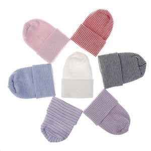 7 ألوان الطفل الوليد قبعة الشتاء حك الدافئة الناعمة قبعة للطفل الكروشيه القبعات الجديد 2020