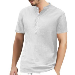 Homens de manga curta TShirt O pescoço de algodão de linho T-shirt confortável Tops Verão 2019 causais homens Sólidos T-shirt Roupa