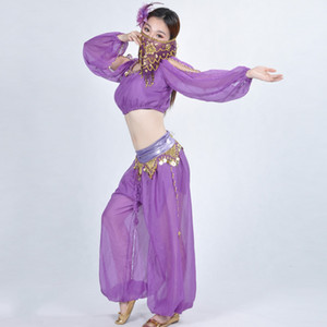 Women lady Belly Dance Costume Egyption Bollywood Costume adult  Dance 3pcs Set Lantern long sleeve+bloomers+face veil