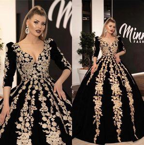 Arapça Abiye Altın Dantel Aplike 3/4 Uzun Kollu Dantelli A Hattı Örgün Parti Gelinlik Modelleri vestidos de festa
