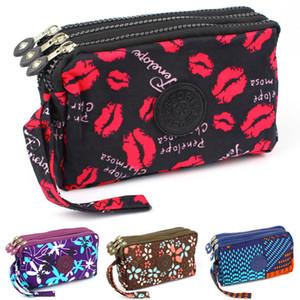 3 tirettes femmes Wallet Toile Tissu Lady Porte-monnaie Porte-monnaie Moneybags Fleur d'embrayage sac à main Wristlet Wallet Filles Burse billfold