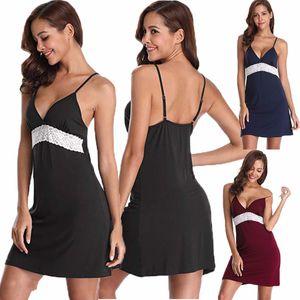 Женская Ночное платье Sexy Backless Глубокий V-образным вырезом без рукавов кружева белья сатин сна платье пижамы платья лета женщин 2019