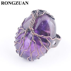 Antique Rings for Women Finger Jewelry Natural stone Amethyst Oval Bead Copper Wire Wrapped Tree of Life Adjustable Ring Party Gift DX3053