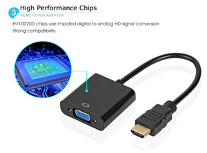 Alta calidad HDMI a VGA adaptador macho a hembra Adaptador convertidor 1080 P de vídeo Digital-analógico de Audio para PC ordenador portátil